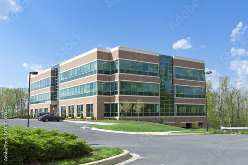 Leinwanddruck Bild Modern Cube Office Building Parking Suburban MD
