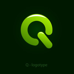 Logo letter Q, green power # Vector