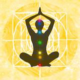 Yoga: posizione del loto con indicazione dei punti chakra poster