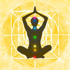 Yoga: posizione del loto con indicazione dei punti chakra