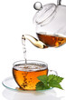Tea poured cup (clipping path)