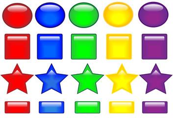 botones brillantes de colores