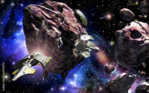 spaceship asteroid field space base