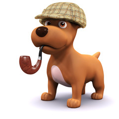 3d Dog detective in his Sherlock Holmes outfit