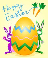 Conigli e uovo pasquale - Rabbits and Easter egg