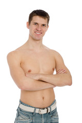 Smiling guy with shirtless in jeans.