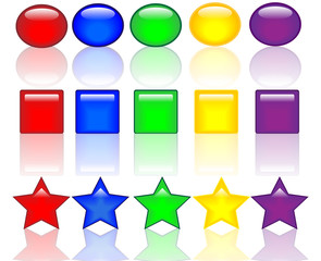 colored buttons with reflection