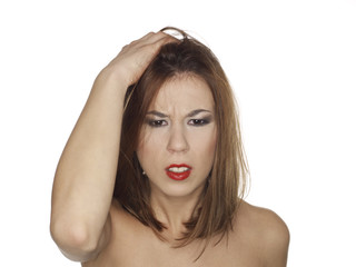 portrait of a worried young woman with bare shoulders