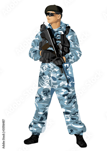 The soldier holding a rifle. Highly detailed image.
