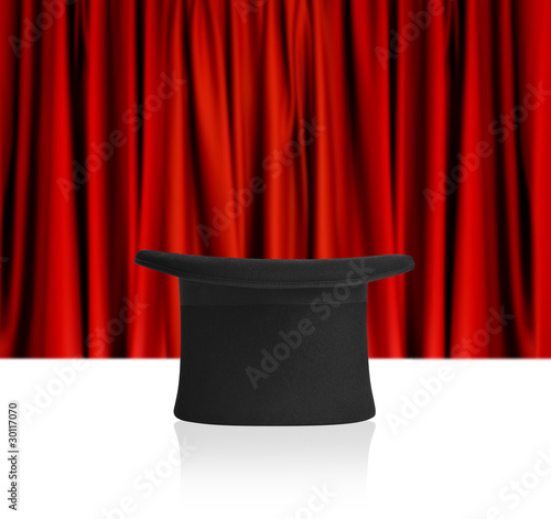 Top hat red curtains