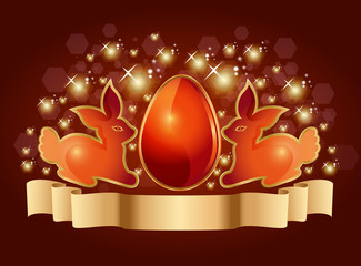 OrangeEaster eggs and rabbits on a sparkling background