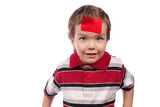 Small boy with red tape on their foreheads poster