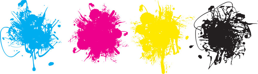 set of four cmyk ink splashes