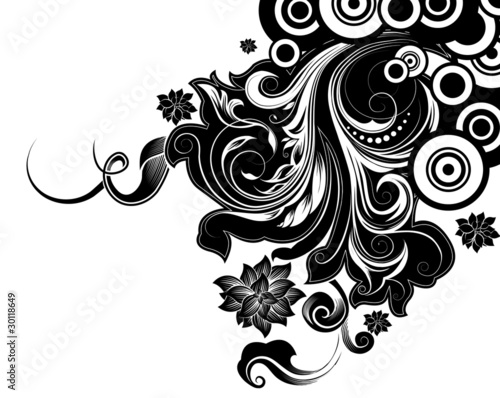 Scroll Design With Swirling Flourishes And Circles