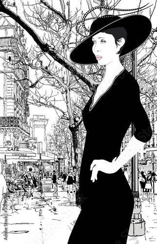 Fotobehang Getrokken Parijs illustration of an elegant lady in Paris
