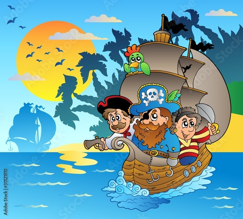 In de dag Piraten Three pirates in boat near island