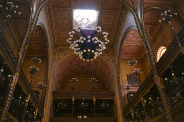 Interior of the Grand Synagogue, Budapest, Hungary.