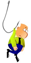 A businessman is caught on a fish hook.