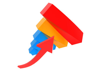 3d blue, red and yellow grafic showing financial success.