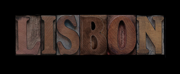 Lisbon in old wood type