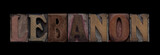 the word Lebanon in old letterpress wood type