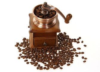 coffee mill with roasted beans