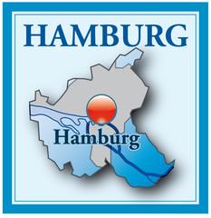 Hamburg als Übersichtskarte blau mit Rahmen