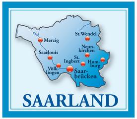 Saarland als Übersichtskarte blau mit Rahmen
