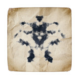 old paper with Rorschach graphic