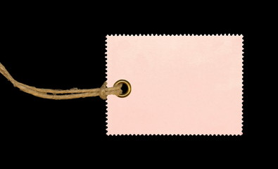 Pink Blank Tag isolated on black background