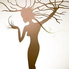 Tree like woman with beautiful body / Flora