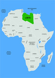 Libya position on Africa map - vector