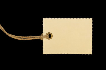 blank tag isolated on black background