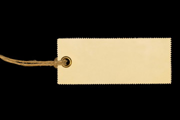 Blank tag tied isolated on black background