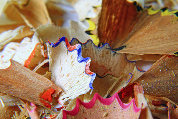 colored pencils of wood chips after the sharpener