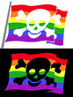 rainbow pirate flag with skull jolly roger