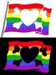 rainbow pirate flag with heart jolly roger