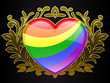 glossy rainbow colour heart with golden ornamental crest