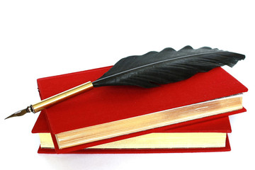 Two red books and quill isolated on white
