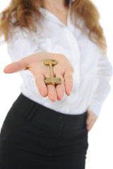businesswoman gives the key
