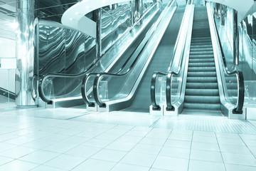 motion of blue vanishing escalator