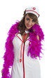 Cute nurse with feather boa