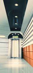 3D render of  Interior with entrance door