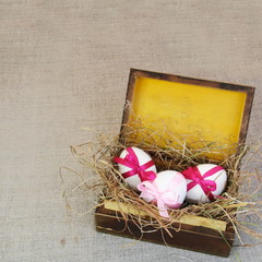 Vintage Wooden Box with Easter Tied Eggs