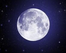 Pełnia w wysokiej rozdzielczości z gwiazdami w tle