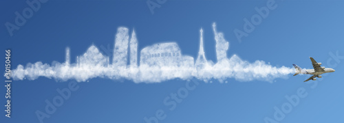 Plexiglas Vliegtuig Travel the world clouds concept