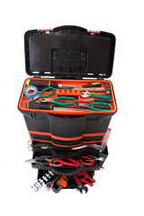 Open tool box with tools