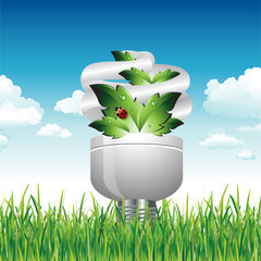 Eco Light Bulb in the Grass