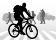 Cyclist boy on crosswalk