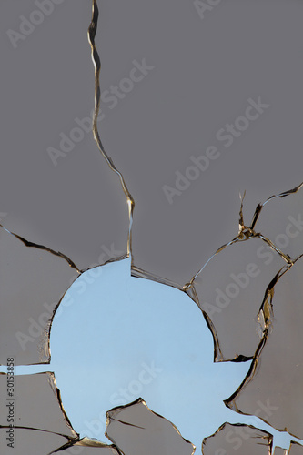 Glass   hole  broken   sky